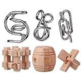 ANNA SHOP 6 Stück Metall Holz Knobelspiel IQ Puzzle Knobelspiele Set Geduldspiele Rätselspiele IQ Rätsel Set Jigsaws für Erwachsene,Kinder