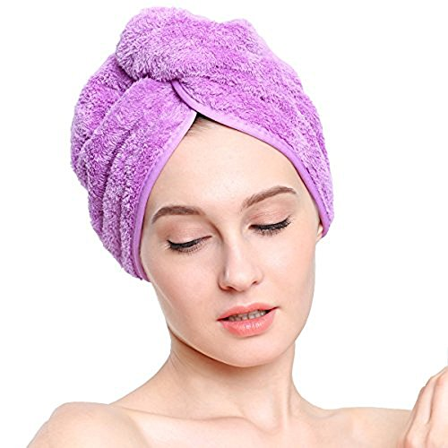 Cimary Turban, Haartrockentuch Handtuch,Kopftuch,Absorbent Large Hair Turban Wrap Towel Fast Drying (Lila)
