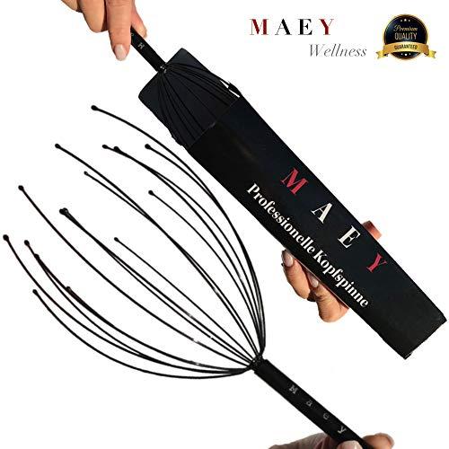 MAEY Wellness Kopfmassage Spinne | Kopfmassagegerät Im Edel Schwarzton | Hochwertig Verarbeitet|Kopf Massage Gerät Zum Entspannen |Kopfgreif Kopfkrauler Original Kopfmassage Spinne Massage Kopfhaut -