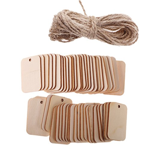 NF&E Pack of 50 Unfinished Blank Rectangle Wooden Hanging Tags for Party Favor Wedding Gift Tags with Rope