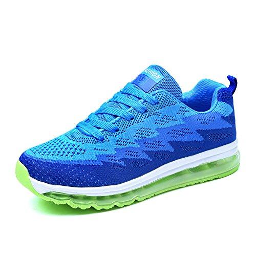 Chaussures de Course Homme Sport Basket Basses Femme Fitness Athlétique Plate Lacets Respirant Knit Coussin d'air Sneakers Noir Bleu Vert Rose 35-44
