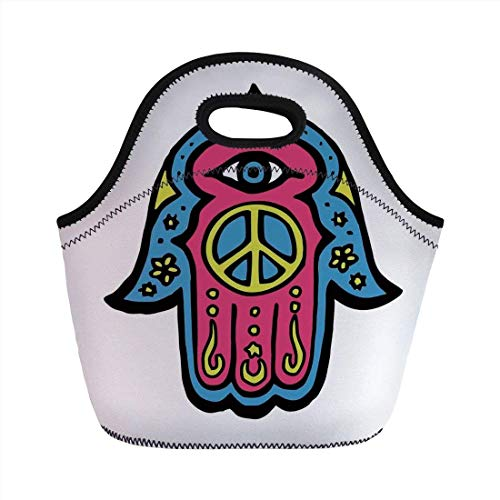 2ebf56eccc12 Portable Bento Lunch Bag,Chakra,Flower Shaped Eastern Icon Vital Energy and  Life Force Symbol Eastern Asian Religion Art,Blue,for Kids Adult Thermal ...