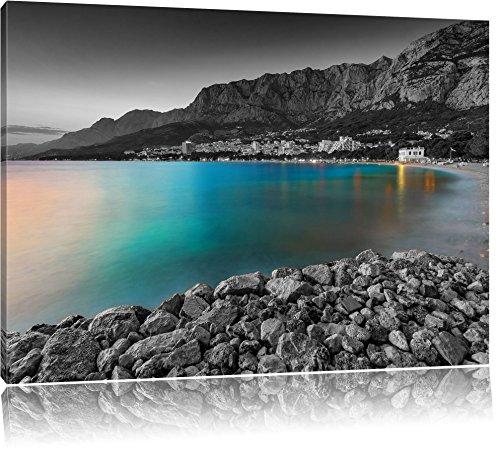 sensationeller Strand in Makarska Kroatien schwarz/weiß Format: 120x80 auf Leinwand, XXL riesige Bilder fertig gerahmt mit Keilrahmen, Kunstdruck auf Wandbild mit Rahmen, günstiger als Gemälde oder Ölbild, kein Poster oder Plakat -