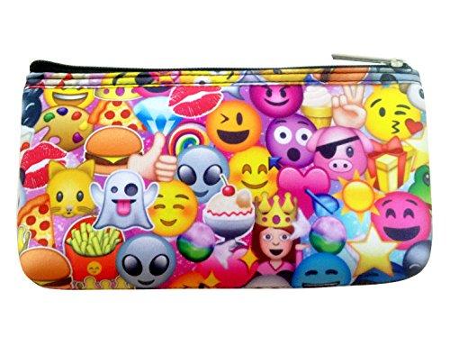 Bunte Neopren-Federmappe bedruckt mit Emojis, Kosmetiktasche mit Reißverschluss für Teenager-Girls, mehrfarbig - neon fun - Größe: 28 EU  (, Wo F Gehen, Zu)