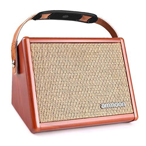 Ammoon amplificatore chitarra acustica, portatile da 15w ampli altoparlante bt con effetto di 2 banda eq basso treble e riverbero batteria ricaricabile incorporata