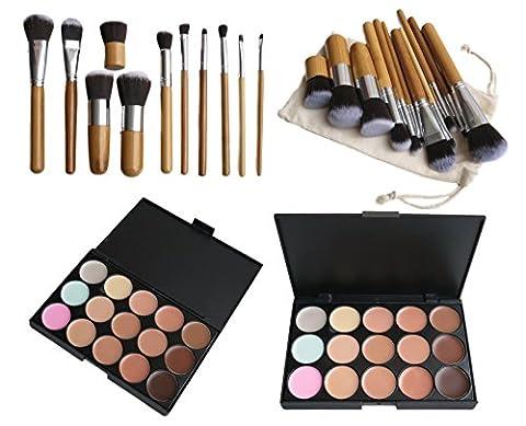 15 Farbe Makeup Concealer Palette +11stk Profi Pinsel Set Contour