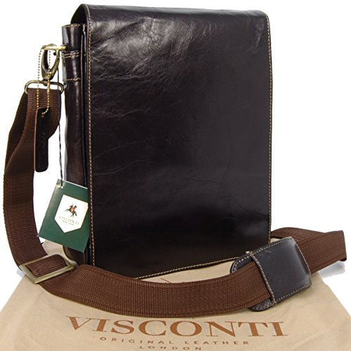 Visconti, Borsa a tracolla in pelle, Unisex adulto Marrone scuro