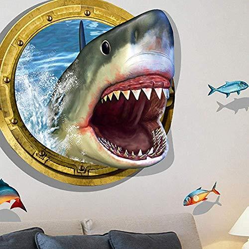 Amovible Rupture Shark 3D Stickers muraux Stickers de décoration de Cadre Effet Amusant Mur Raging Big Shark 3D pour l'arrière-Plan Chambre Accueil Cuisine Stickers muraux concassé Jardin de