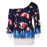 TEBAISE Weihnachts Frauen-Damen Anker Weg von der Schulter Maxi-Slouchy Sweatshirt Pullover Tops Blusen
