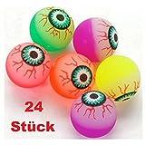24x bunte Flummis Auge Augapfel Horror Gummiball Hüpfball Springball Flummi Mitgebsel Party