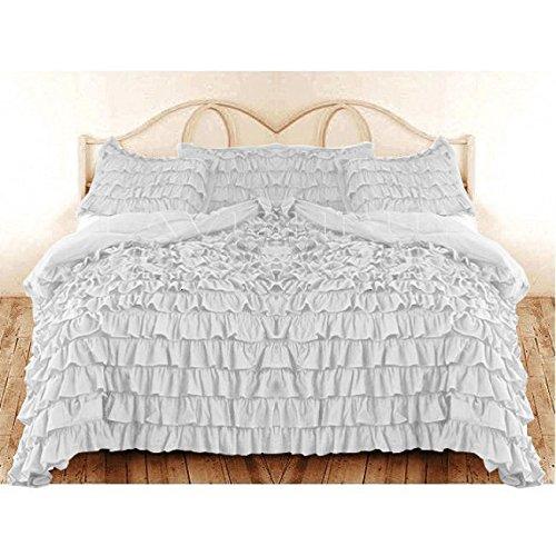 Super weiche aus ägyptischer Baumwolle, Fadenzahl 600 Rüschen Bedding- Bettwäsche UK König, Weiß, 100% Baumwolle TC - 600 -
