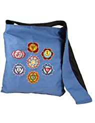 Bolso de bandolera símbolos de Chakra azul 32 cm