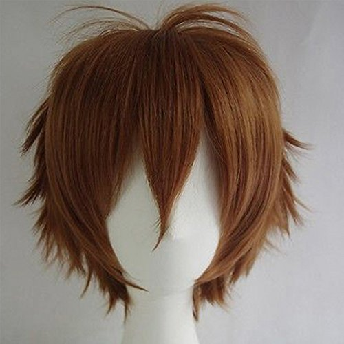 Cosplay Wigs Short Anime Costume Party Full Wigs Light Brown Fashion Straight Synthetic Hair for Women Men
