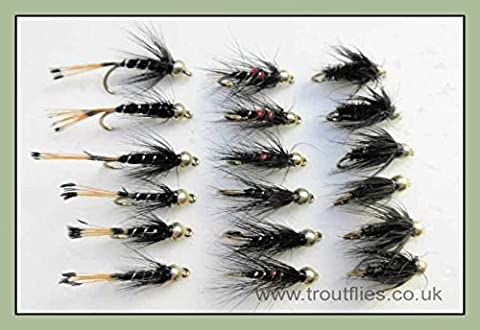 Gold Bead Nymph Trout Flies,18 Pack, Bibio, Black & Pennell & Black & Peacock