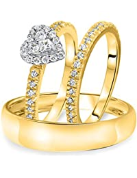 Silvernshine 1/4 Carat T.W. Diamond Halo Heart Trio Matching Wedding Ring Set 10K Yellow Gold Fn