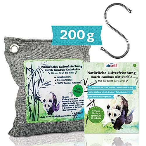 Bambus Aktivkohle Lufterfrischer, 200 g - Natürlicher Raumerfrischer & Geruchskiller ohne Chemie - mit Haken