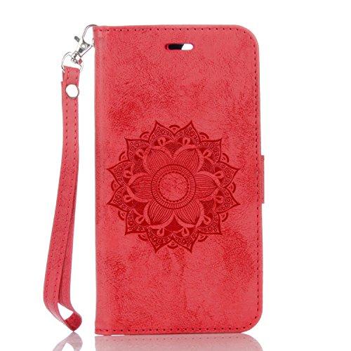 Funda iPhone 7 Plus (5,5 zoll) Case , Ecoway Mandala patrón en relieve PU Leather Cuero Suave Cover Con Flip Case TPU Gel Silicona,Cierre Magnético,Función de Soporte,Billetera con Tapa para Tarjetas ,Carcasa Para iPhone 7 Plus (5,5 zoll) - rojo