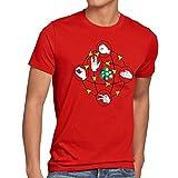 CottonCloud Piedra Papel Tijera Lagarto Spock Camiseta para hombre T-Shirt sheldon, Talla:XL;Color:Rojo