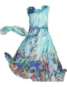 Niñas Sin Mangas Gasa de Bohemia Maxi Largo Vestido De Fiesta Vestido de Azul Turquesa playa tamaño edad
