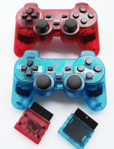Bowink Wireless Gaming Controller für PS2 Double Shock Clear Red and Clear Blue
