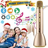 Microfono karaoke Wireless, Microfono bluetooth per Bambini, Portatile Karaoke Bluetooth Microfono Wireless Senza fili con Altoparlante per Cantare Ragazzi Ragazze Child iPhone Andriod iOS PC (Gold)