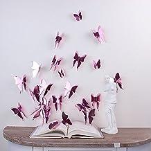 Walplus 4Q-IFF9-NEGO - Pegatinas de pared, diseño mariposas en 3D, color rosa