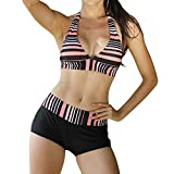 iBaste Neckholder Damen Bikini Push Up Bademode mit Badeshorts Tankinis Damen große größen Bikini-Set Badeanzug Swimsuit (EU38-EU48)-OR-2XL