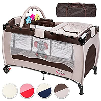 TecTake Cuna infantil de viaje portátil altura ajustable con acolchado para bebé - disponible en diferentes colores -