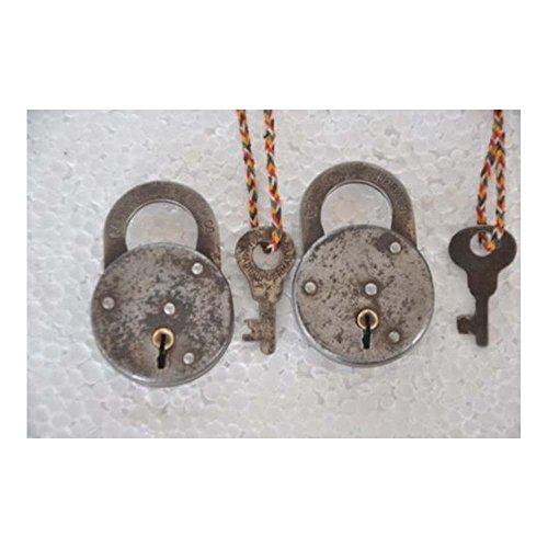 2 Pc Old Iron Round Shape Corbin Cabinet Lock Co. Handcrafted Padlock, USA