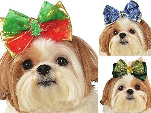 Kostüme Jolly (Mädchen Animal Haustier Hund Katze Rot Grün Blau Weihnachten Haarschleifen Kostüm Kleid Outfit - Grün Jolly Bow, one)