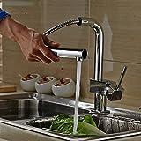 Auralum® Grifo Mezclador de Cocina Extraíble con Caño Giratorio Grifería para Fregadero Monomando a Cascada Del Lavabo Cascada Grifo