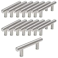 Probrico 15 PCS Brushed Nickel Stainless Steel Kitchen Cabinet T Bar Handle Furniture Drawer Pulls Cuoboard Knobs PD201HSS64(64mm Hole centers/100mm Long)