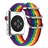 AUTOECHO Band für Apple Watch Series 3/2/1 Rainbow 38mm Armband mit Sport Premium Woven Nylon Canvas Smart Uhrenarmband 42mm Ersatz IWatch Armband für Damen Herren
