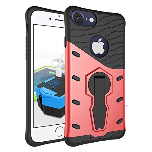 iphone SE Plus Cover, GIM Blu Dual Layer Silicone + PC Hybrid Custodia Protettiva Cover Case per Apple iphone 5 5S SE Smartphone con Support Rosso