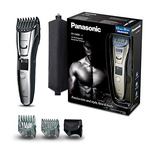 Panasonic ER-GB80-S503 Recortadora recargable 3 en 1 Barba, cabello y cuerpo (39 longuitudes (0,5mm- 22 mm en pasos de 0,5mm), 3 peines, 100% lavable, mini recortadora de precisión) acero inoxidable