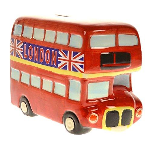 London Bus Spardose aus Keramik - Sparbüchse Sparschwein England aus Keramik -