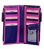 Visconti Damen Geldbörse Weiches Lederetui 3 Farbtöne 17 Kartenfächer RB-100 Neu - Beeren Multi, Large