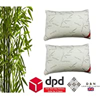 Day Night Bedding D & N Collection 2 x Bamboo Memory Foam Pillow Duvet Quilt Orthopedic Head Neck Back Pain Support Twin Pack Pillows