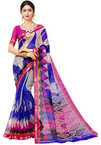 Miraan Women's Silk Saree With Blouse Piece (SRH81_blue_One Size)