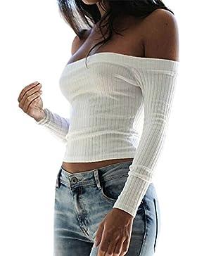 Kurz Feinstrick T-Shirt mit Carmen-Ausschnitt
