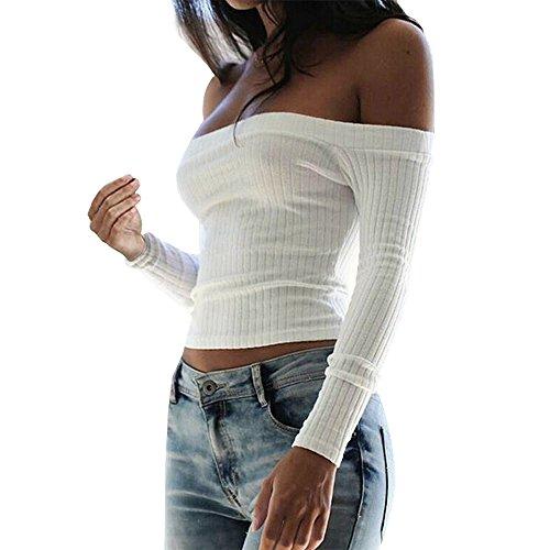 Kurz Feinstrick T-Shirt mit Carmen-Ausschnitt (Pullover Bateau-ausschnitt)