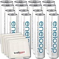 Kraftmax - Confezione da 16batterie Panasonic Eneloop, 8batterie AA/Mignon, 8batterie AAA/Micro, ad alte prestazioni, in scatole Kraftmax V5