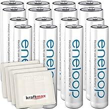 Kraftmax 16er-Kombipack Panasonic Eneloop Akkus 8 AA / Mignon , 8 AAA / Micro Hochleistungs Akku Batterien in Kraftmax Akkuboxen V5, 16er Pack