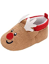 0631e14fd47ce La Vogue Chaussons Bébé Unisexe Noël Fête en Coton Souple Chaussures  d Hiver Chaud Mignon