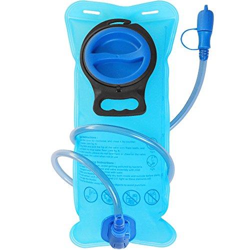 Sacca Idratazione da 2 Litri (70 oz), DeFe Portable Vescica Acqua per Zaino Ciclismo Corsa Running Escursionismo Campeggio Trekking Arrampicata (Blu)