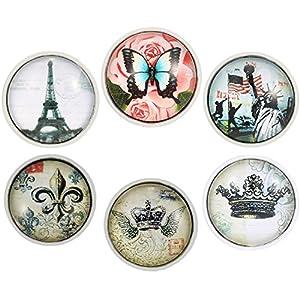 Morella Damen Click-Button Set Reiseromantik 6 Click Buttons Pastelltöne