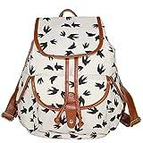 Partiss Damen Frauen Schwalbe Muster Vintage Casual Canvas Haltbare Segeltuch Taschen Reisetaschen Sporttaschen Schultaschen Rucksack Wanderrucksack Multifunktionsrucksack