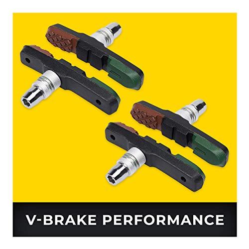 V-Brake Bremsbeläge 2 Paar 72mm Asymmetrisch I Für Shimano, Tektro, Avid, Sram, XLC UVM I Hohe Bremsleistung I Langlebige & Passgenaue Bremsklötze