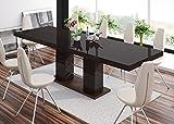 super-furniture24_eu Esstisch LINOSA-2 Tisch Ausziehbar in Super Hochglanz Acryl (wenge Matt/Braun Hochglanz)