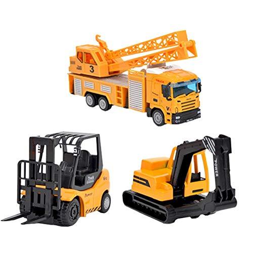 Playsets-Friction-Autos Push Go Auto Baufahrzeuge Spielzeug Satz von 6Tractor, Jahre alte Jungen Kleinkinder, Betonmischer-LKW, Dumper zurückschieben Cartoon-Spiel von RED-Eye ()